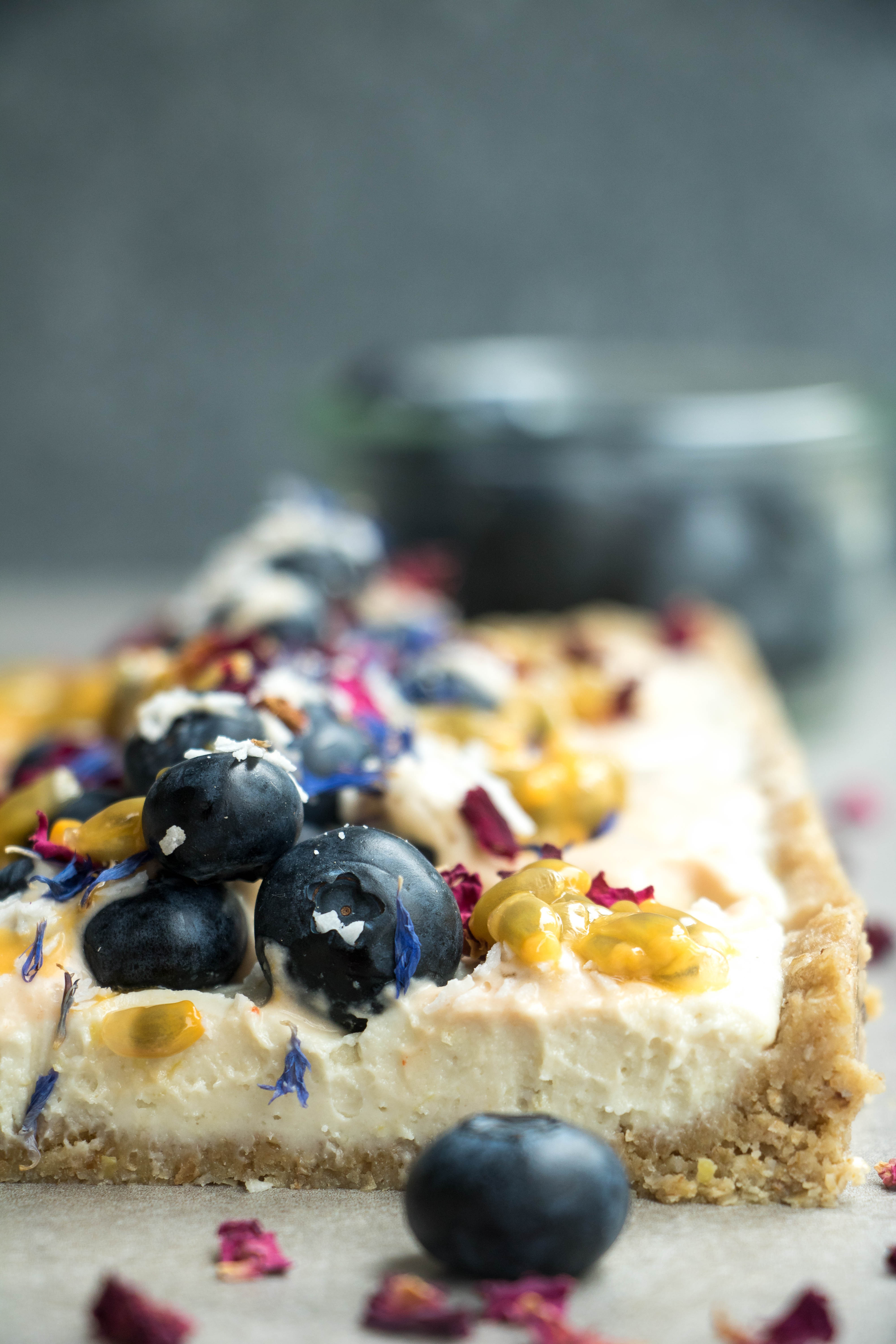 Vegan Lemon Cheesecake With Passionfruit Cream
